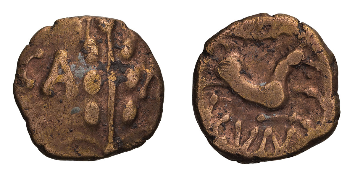 Lot 34 - Celtic Britain, Catuvellauni. Cunobelin. Linear type, Gold Quarter Stater.
