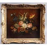 Unbekannter Künstler um 1900, Blumenstilleben mit Insekten
