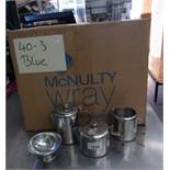 Box and contents, large quantity of stainless steel teapots,