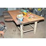 """4'X8'X1.5"""" STEEL WORK BENCH WITH 8"""" VISE [RIGGING FEES FOR LOT #17 - $150 USD PLUS APPLICABLE"""