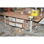 """LOT/ (1) 4'X8'X1"""", (1) 4'X8'X3/4"""", (1) 4'X8'X1/2"""" STEEL WORK BENCHES WITH VISES AND CONTENTS ["""