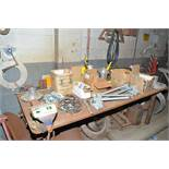 """LOT/ 4'X8'X3/4"""" STEEL WORK BENCH WITH 8"""" VISE AND PARTS [RIGGING FEES FOR LOT #19 - $150 USD PLUS"""