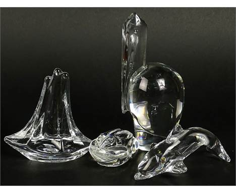 Lot of four (4) Crystal Animal Figurines. Includes Baccarat Pelican, 6-1/2 Inches; Daum France Sailboat; Daum Dolphin; Steube