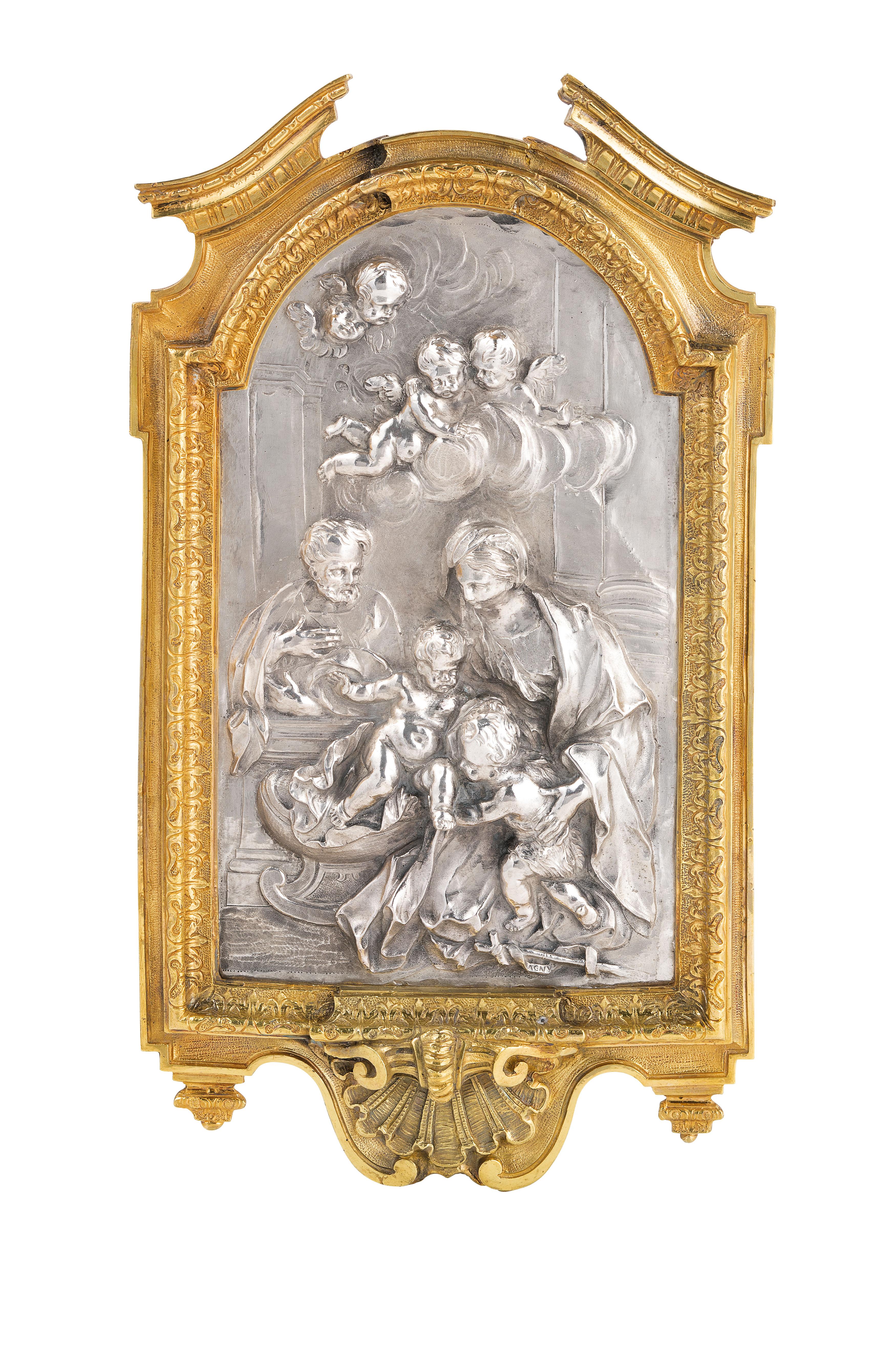 PLACCA IN ARGENTO CON CORNICE IN BRONZO DORATO, ROMA, XVIII SECOLO, ORAFO G. MALTRAVERSI