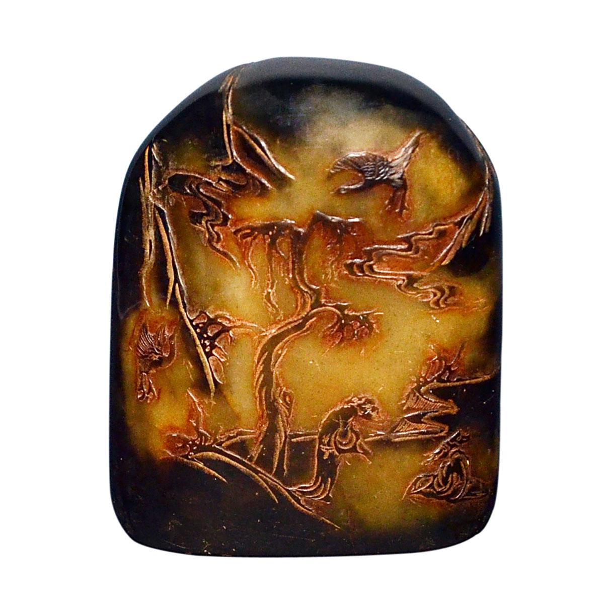 Lot 42 - 壽山石烏鴉皮山水人物大山子 Crow-skin Shoushan Stone Carved Large Boulder with Figural Landscape Motif. Height: