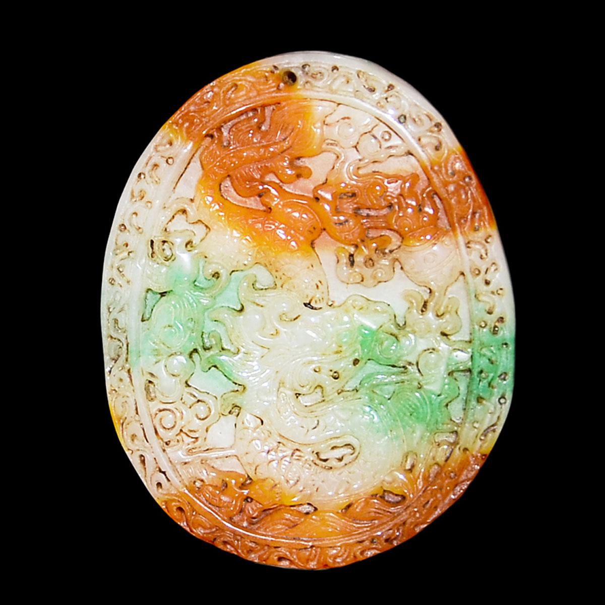 福祿壽三色冰種翡翠雙面雕龍鳳牡丹紋項飾 Glass Jadeite Tri-Color Pendant Pierced on Both Sides with Dragon-Phoenix and