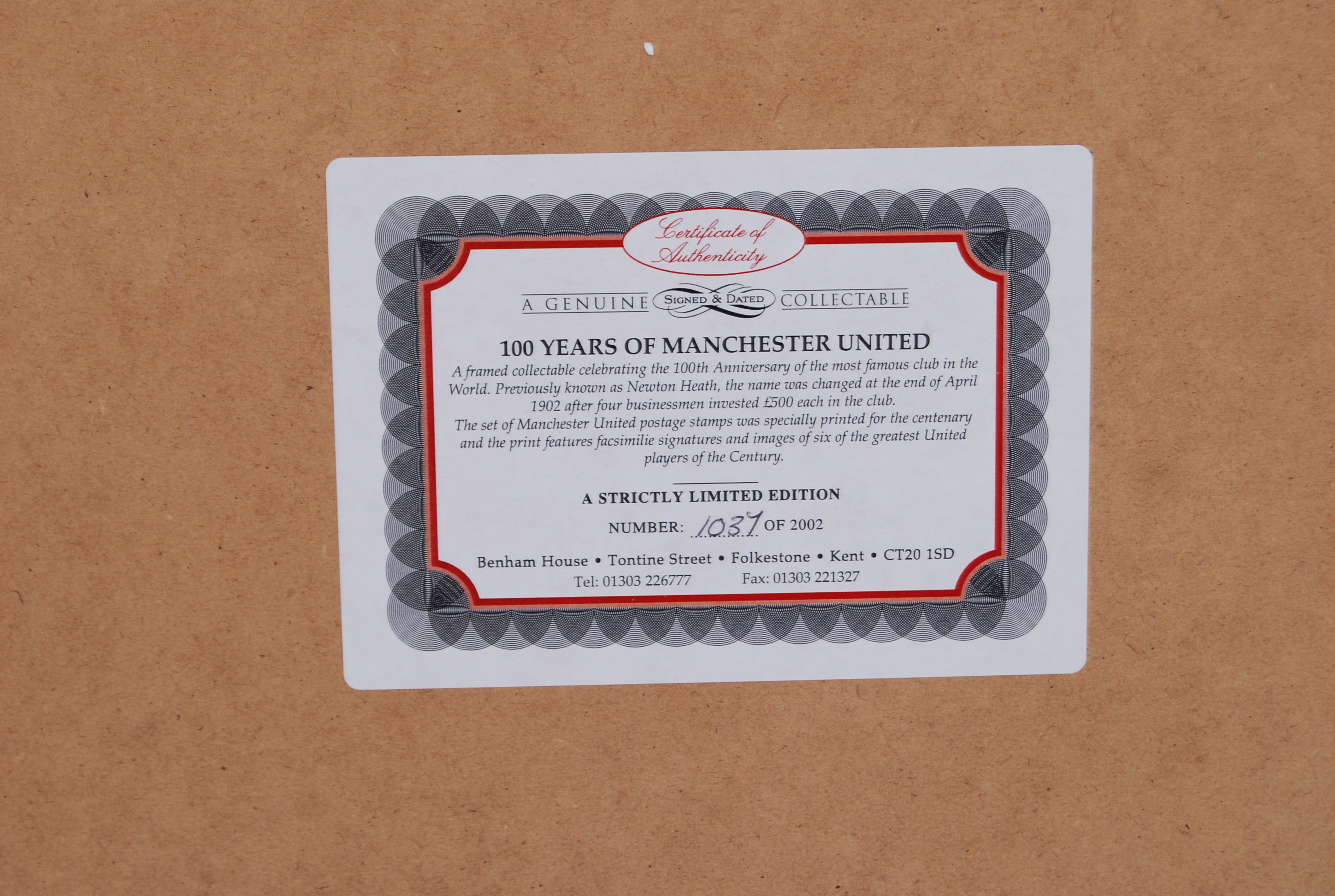 53ddcc08f ... Lot 698 - MANCHESTER UNITED    100 Years 1902 - 2002   Manchester United  Limited