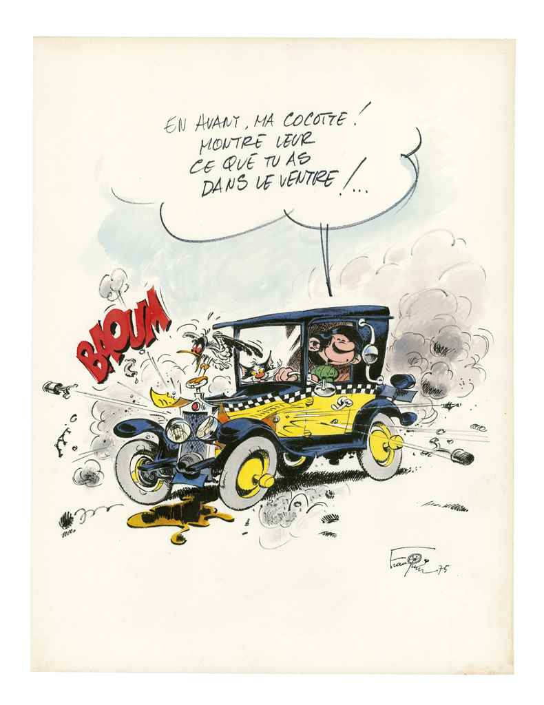 andr franquin gaston illustration originale gaston et sa voiture 1975 sign e aquarelle et en. Black Bedroom Furniture Sets. Home Design Ideas