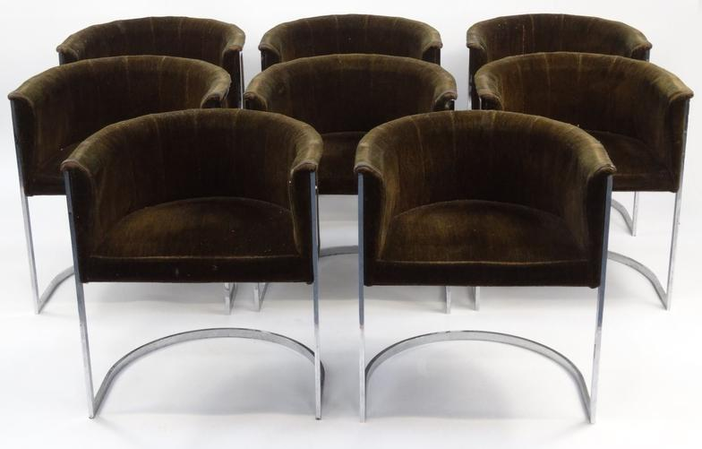 Lot 2011   Set Of Eight Vintage William Plunkett Tub Chairs With Green  Upholstery, William