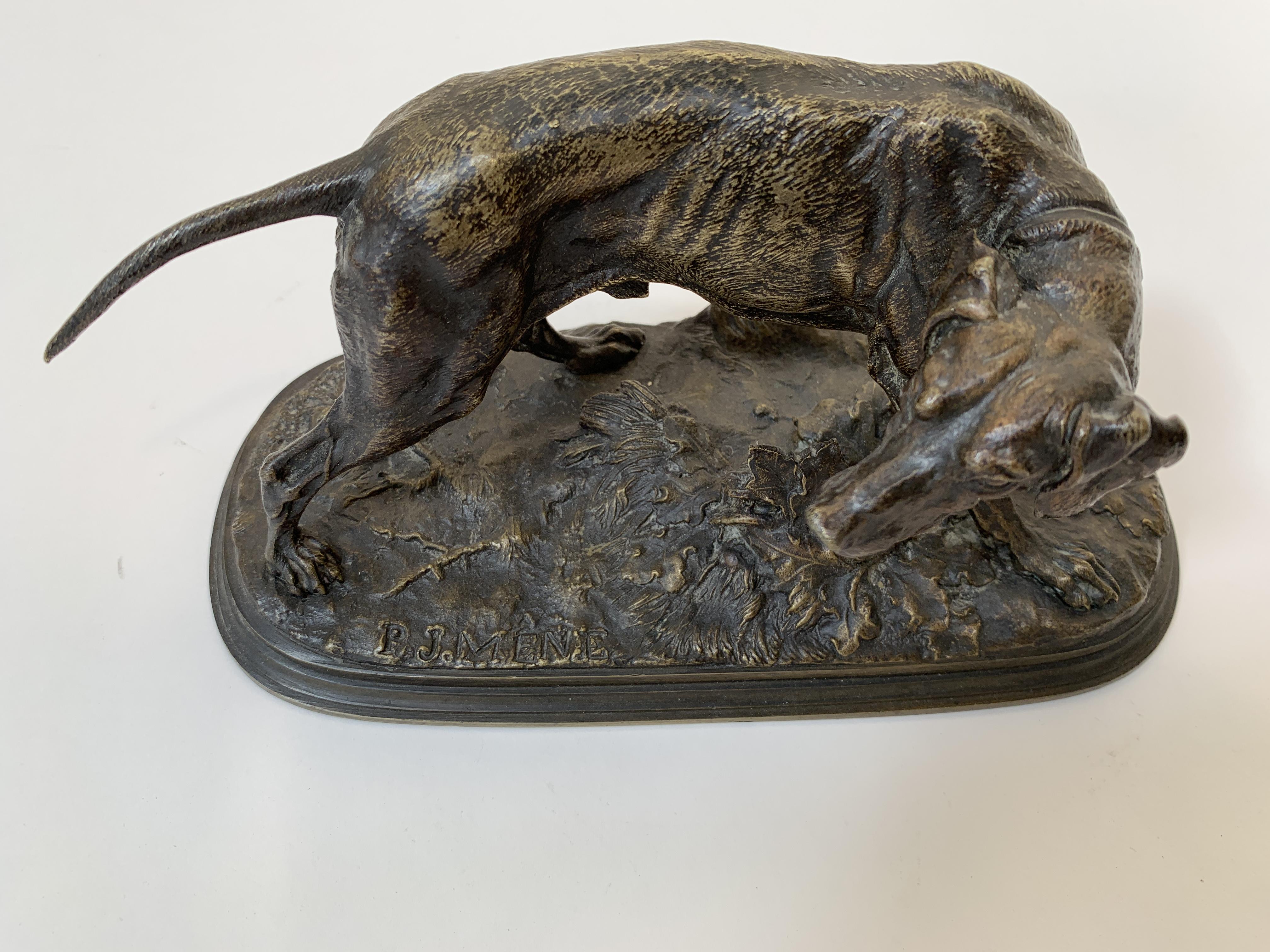 """Los 21 - BRONZE """"CHIEN A L'ARRET"""" DE Pierre-Jules MÈNE (1810-1879) En bronze patiné [...]"""