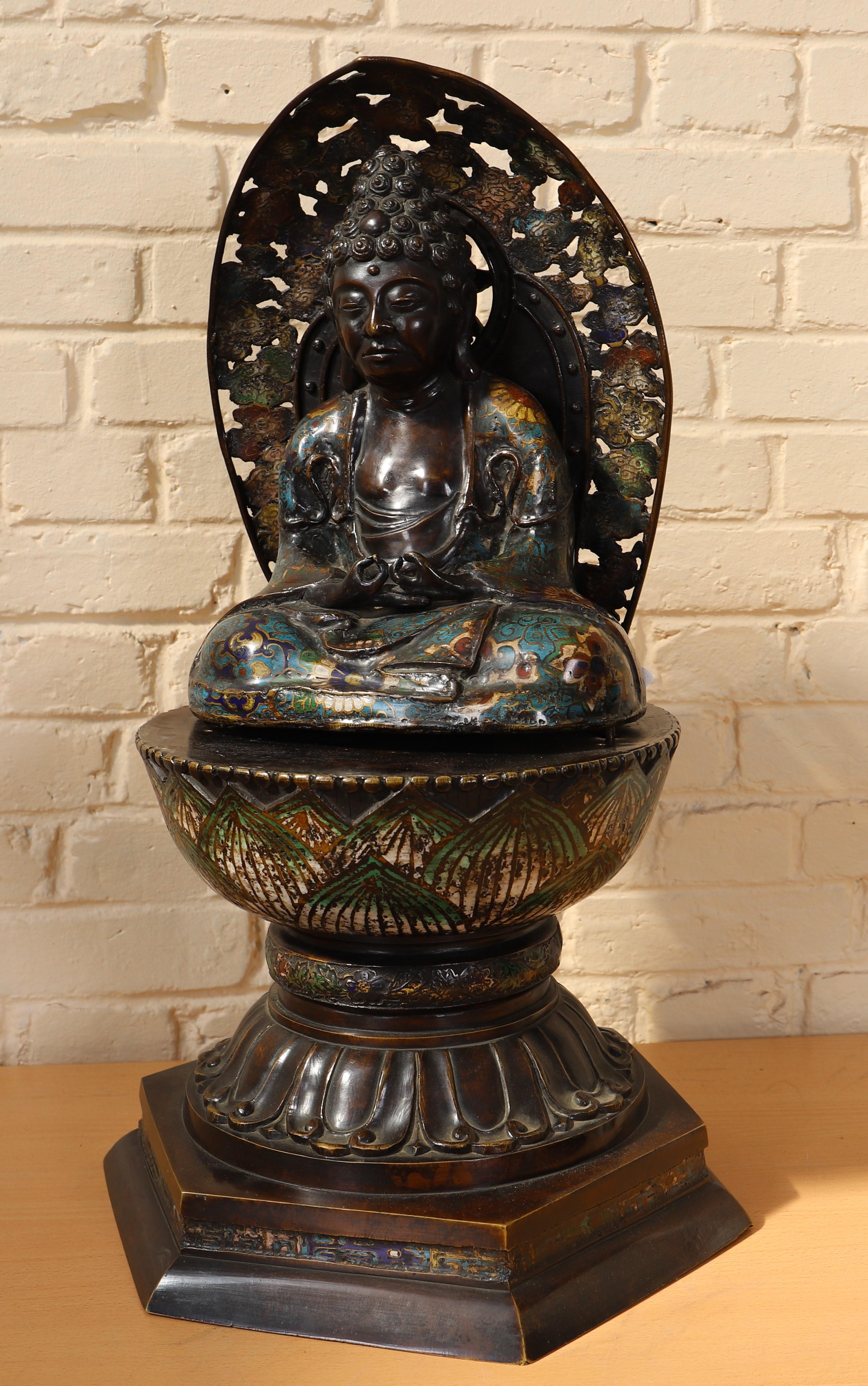 """Los 48 - """"BOUDDHA EN MEDITATION ASSIS A LA MANDORLE """" EN CLOISONNE JAPON Bouddha en [...]"""