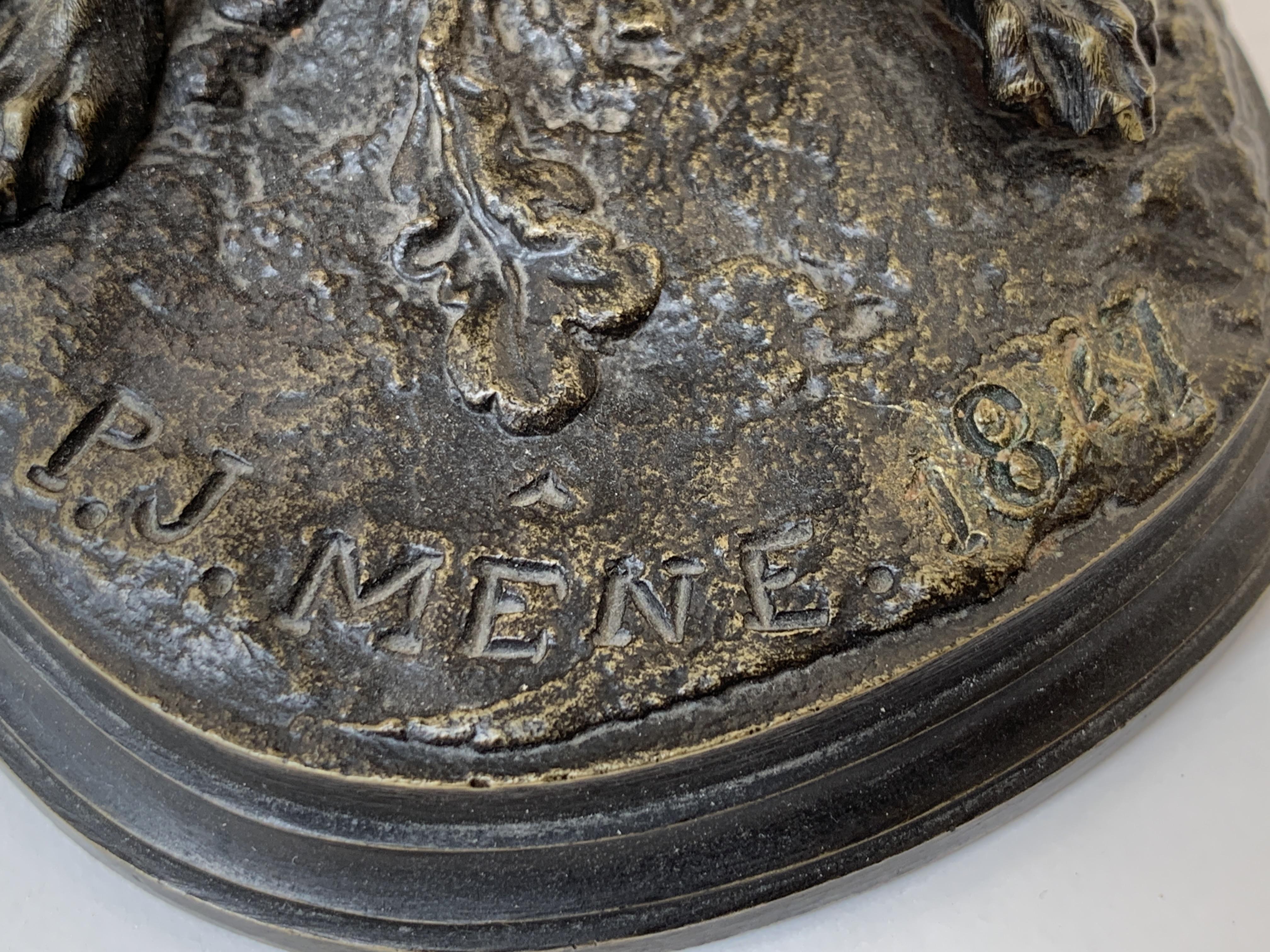 """Los 20 - BRONZE """"RENARD HALETANT"""" DE Pierre-Jules MÈNE (1810-1879) En bronze patiné, [...]"""