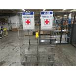 4' MOBILE MULTI-TIER WIRE SHELF UNIT PLUS TWO EMPTY FIRST AIDE BOXES(LOCATED IN MOORESTOWN, NJ)
