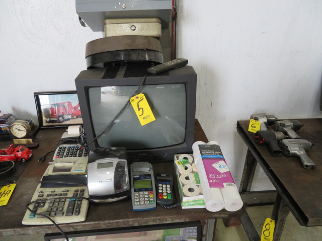 ACROPRINT DIGITAL TIME STAMP, (2) CREDIT CARD TERMINALS, CALCULATORS, TV AND CLOCK (LOCATED IN