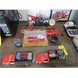 COLLECTOR TOY TRUCKS AND MOBIL PUMP PEN SET (NO PENS) (LOCATED IN LUMBERTON,NJ)