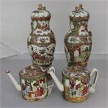 Two Chinese famille rose teapots with perfect condition and a pair of 19th century famille rose