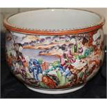 A Chinese 18th century Cantonese mandarin palette rim bowl decorated all round with continuous
