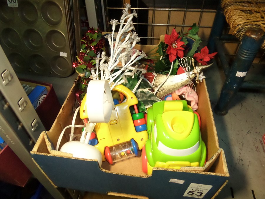 Lot 53 - BOX OF DECS AND TOYS