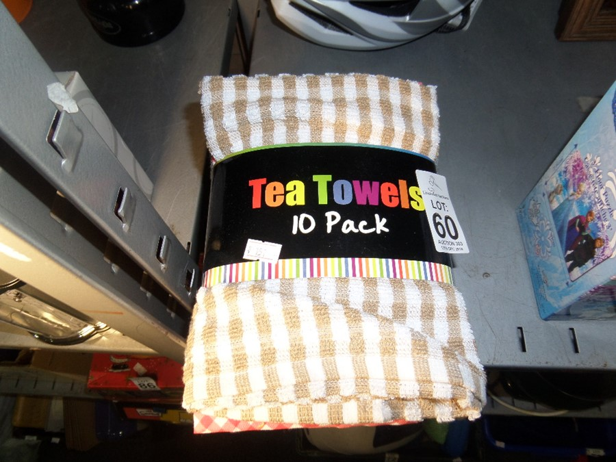 Lot 60 - 10 PACK OF NEW TEA TOWELS SHOP CLEARANCE