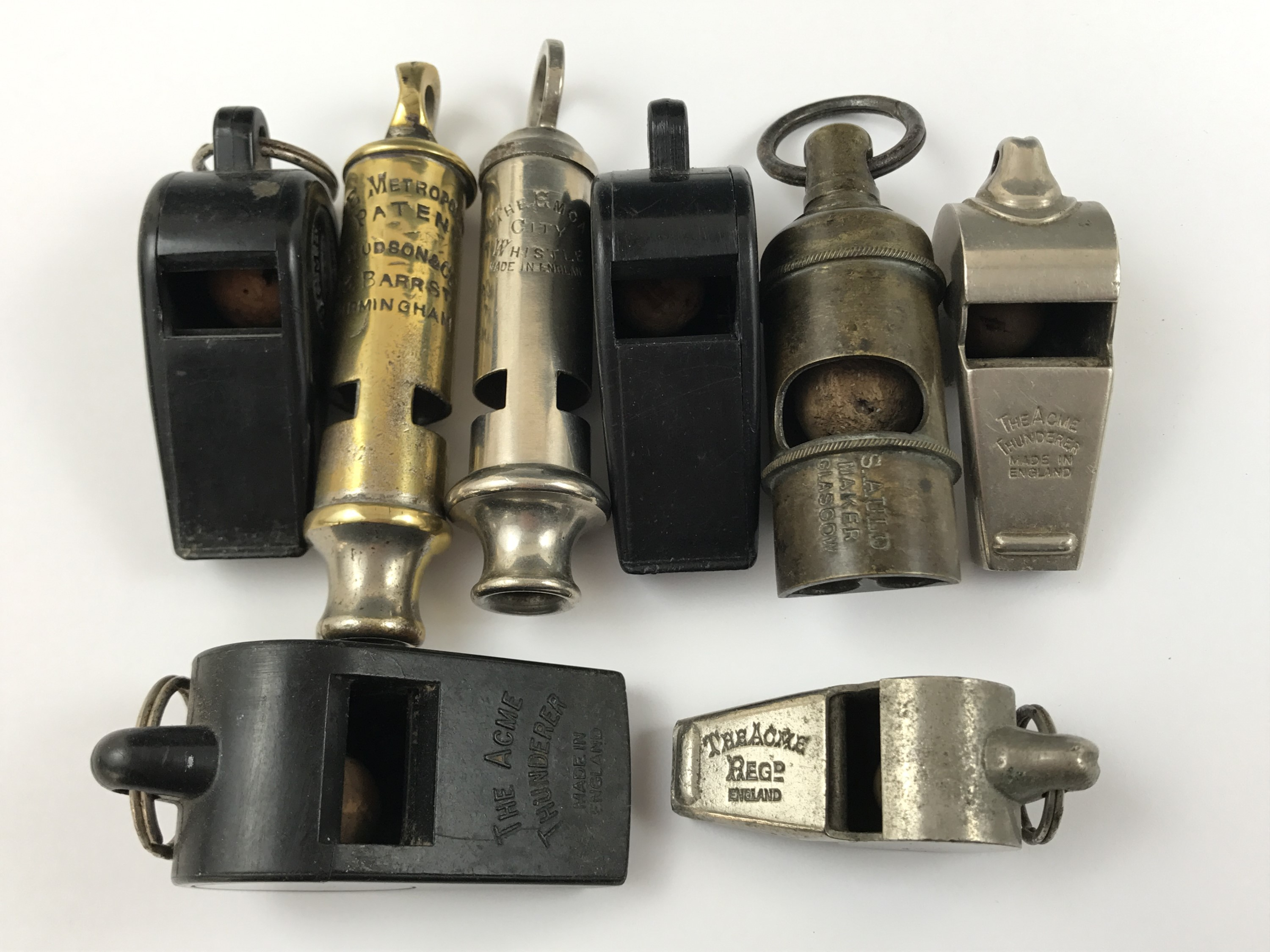 Lot 32 - A number of Beaufort and pea whistles including a late 19th Century example by Auld of Glasgow