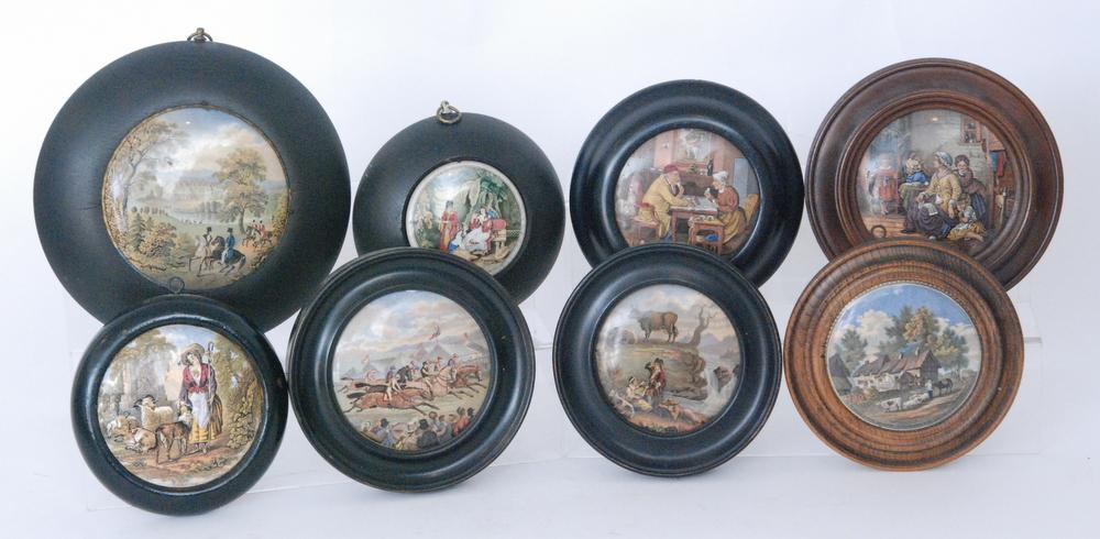 Lot 41 - Nine assorted 19th Century Staffordshire framed pot lids comprising Hide and Seek,