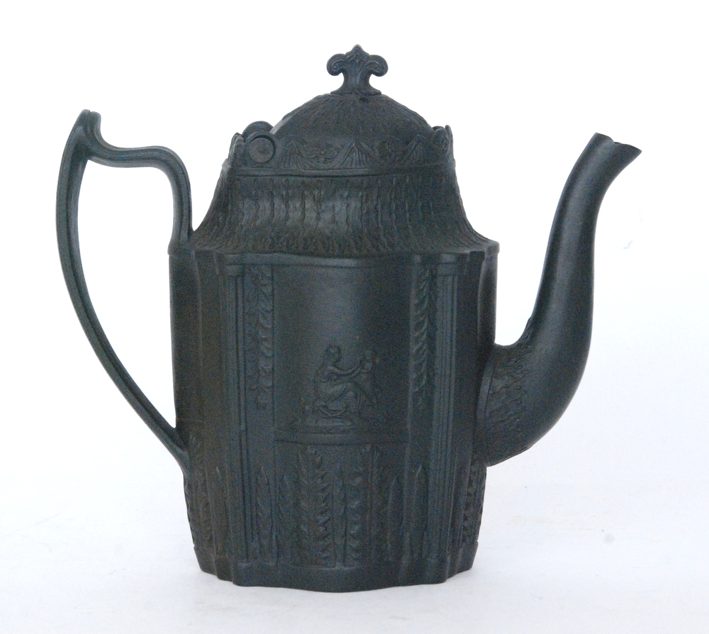Lot 33 - An early 19th Century black basalt Castleford type coffee pot and cover,