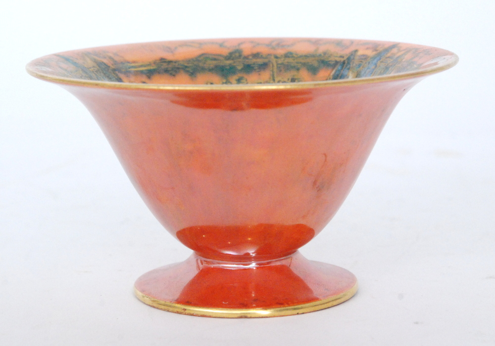 Lot 13 - A 1920s Royal Worcester Crown Works footed bowl decorated to the interior with three stylised trees