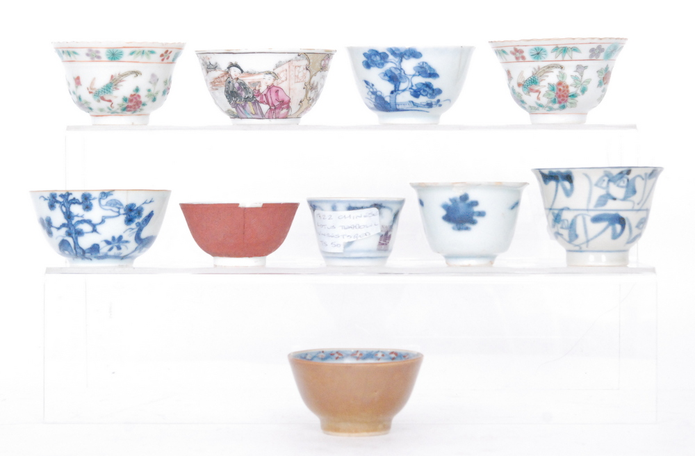 Lot 43 - Ten assorted 18th and 19th Century Chinese teabowls of varying form and design to include one