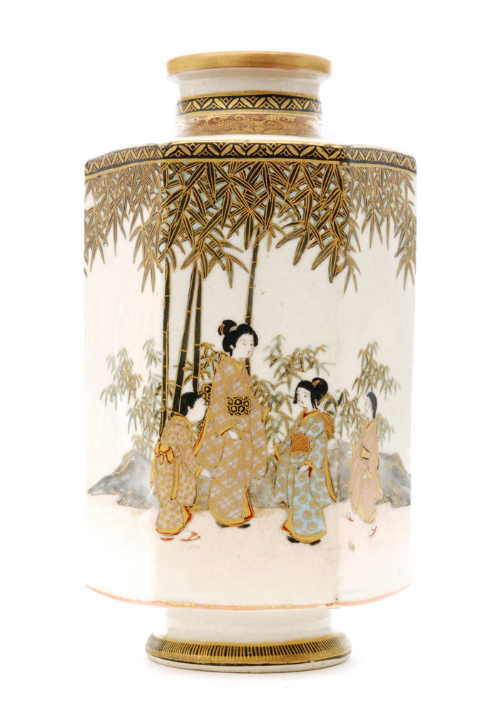 Lot 7 - A late 19th Century Japanese Satsuma vase of footed hexagonal form decorated with a scene of five