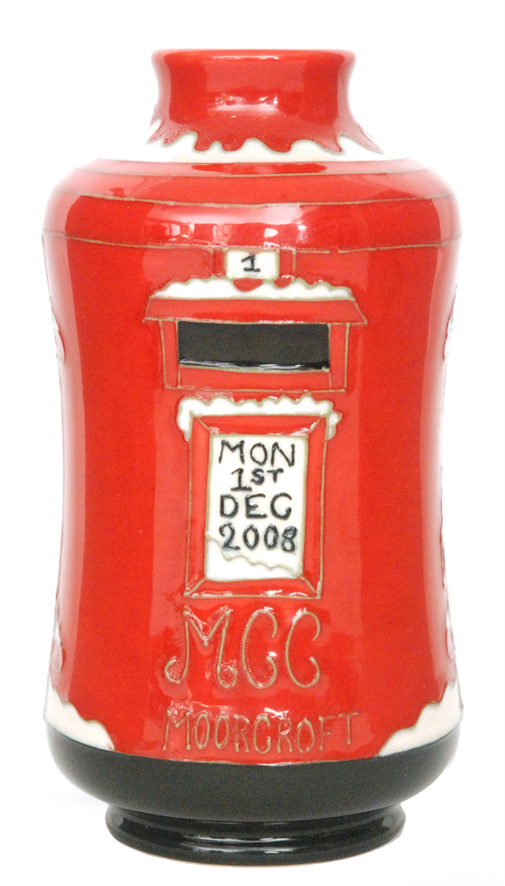 Lot 198 - A Moorcroft Pottery Collectors Club vase modelled as a Christmas post box and tubelined Mon 1st Dec