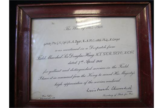 Framed Mentioned In Despatches certificate named to 90487