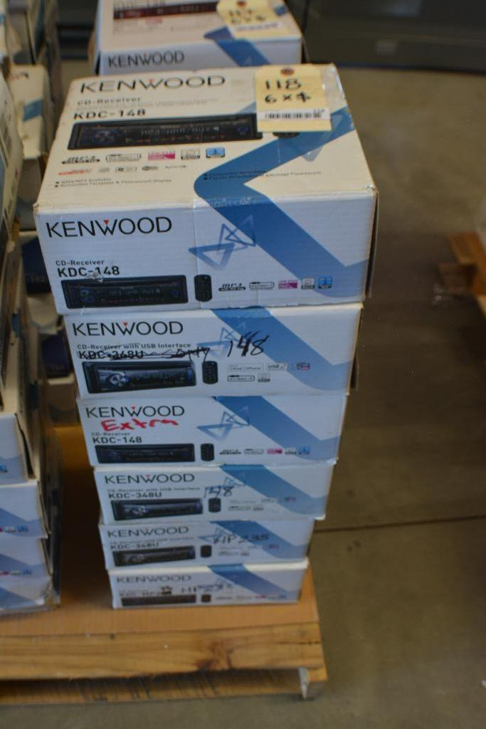 Lot 118 - Kenwood Car Stereo Model KDC-148 CD- Receiver + Aux Port. (Some stereos not in original box). Qty 6