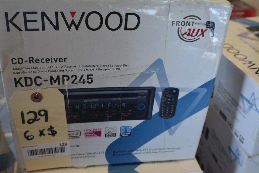 Lot 129 - Kenwood Car Stereo Model KDC-MP245 CD -Receiver In-Dash unit- Front Aux. (Some Stereos not in Origin