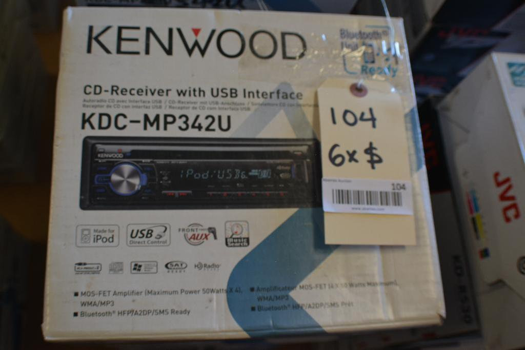 Lot 104 - Kenwood Car Stereo Model KDC-MP342U CD-Receiver + USB & Aux Port. (Some stereos not in original box)