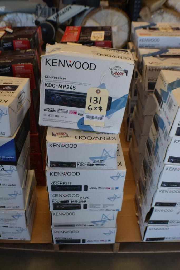 Lot 131 - Kenwood Car Stereo Model KDC-MP245 CD -Receiver In-Dash unit- Front Aux. (Some Stereos not in Origin