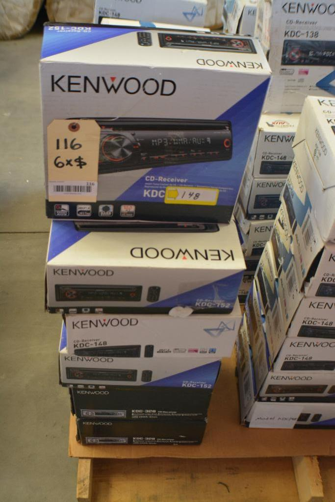 Kenwood Car Stereo Model KDC-148 CD-Receiver + MP3 Aux. Port.(Some stereos not in original box). Qty