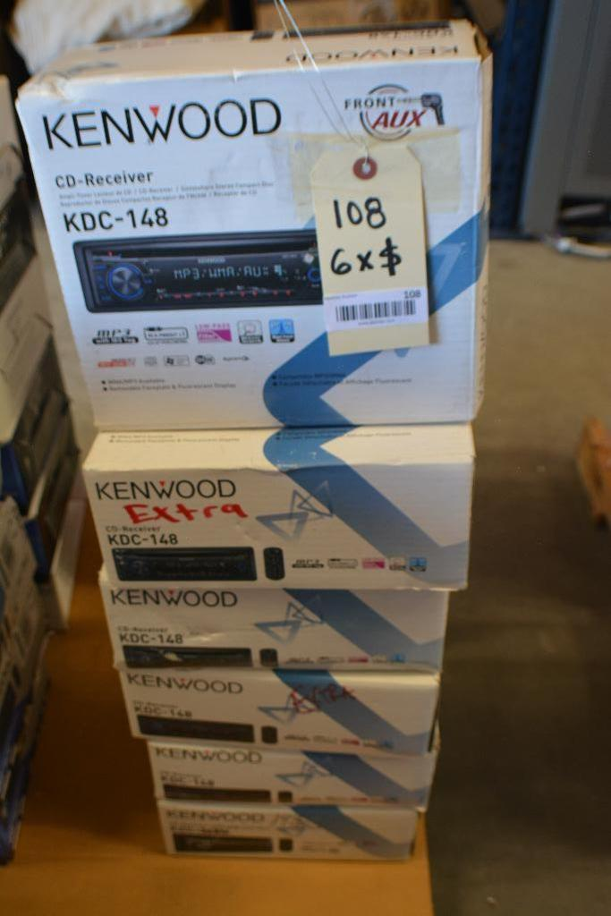 Lot 108 - Kenwood Car Stereo Model KDC-148 CD-Receiver + MP3 Aux. Port.(Some stereos not in original box). Qty