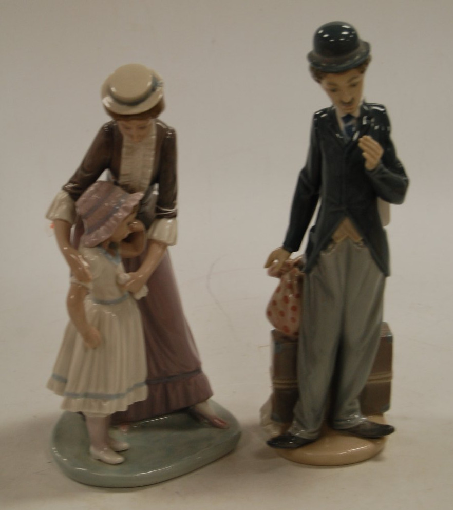 Lot 9 - A Lladro porcelain figure of Charlie Chaplin in standing pose, printed mark verso and impressed B6D,