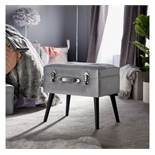 (NN130) Silver Storage Trunk Stool This shimmery velvet storage stool with black MDF legs and ...