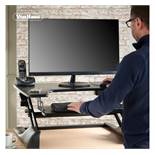 (D17) Black Sitting & Standing Desk Ergonomic tiered sit to stand workstation - allows you to ...