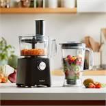 (KG35) 750W Food Processor. Chop, mix, shred, slice, juice, grate, make dough or liquidise ingr...