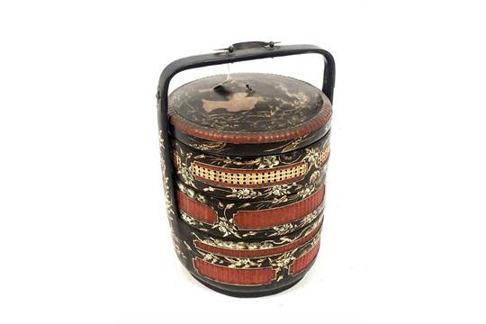 00f7de67d A Chinese Red, Black and Gold Lacquered Ceremonial Wedding Basket ...