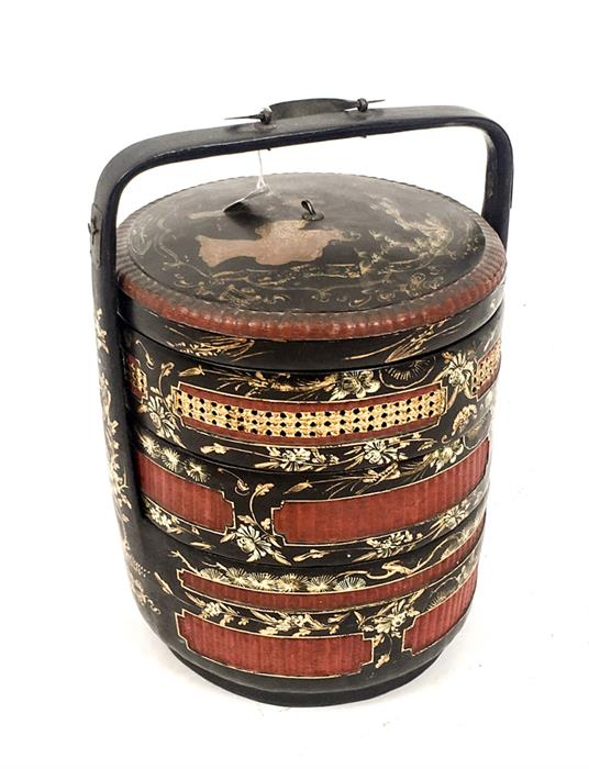 c2836e261 Lot 245 - A Chinese Red, Black and Gold Lacquered Ceremonial Wedding Basket