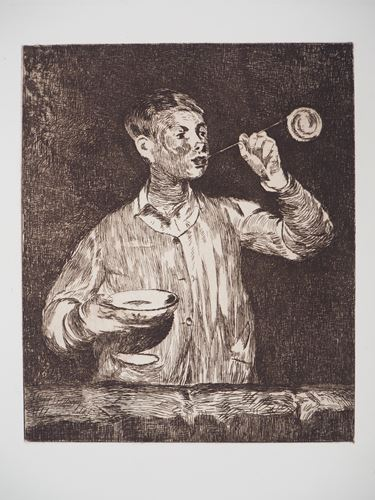 Lot 15 - Edouard Manet - The child with soap bubbles, 1869 - Original engraving (etching) - [...]