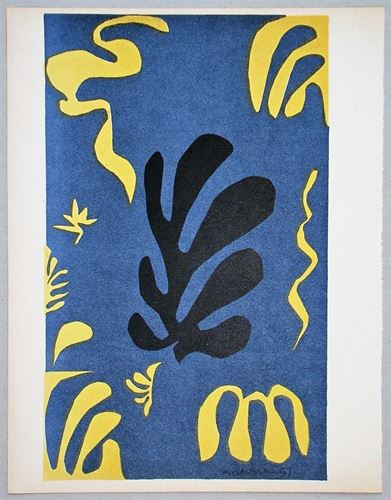 Lot 42 - HENRI MATISSE ( after ) - Composition fond bleu - 1951 - Lithograph in colours on [...]