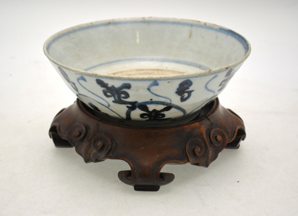 Lot 19 - WITHDRAWN An underglaze blue decorated bowl possibly from a provincial Qing Dynasty kiln,