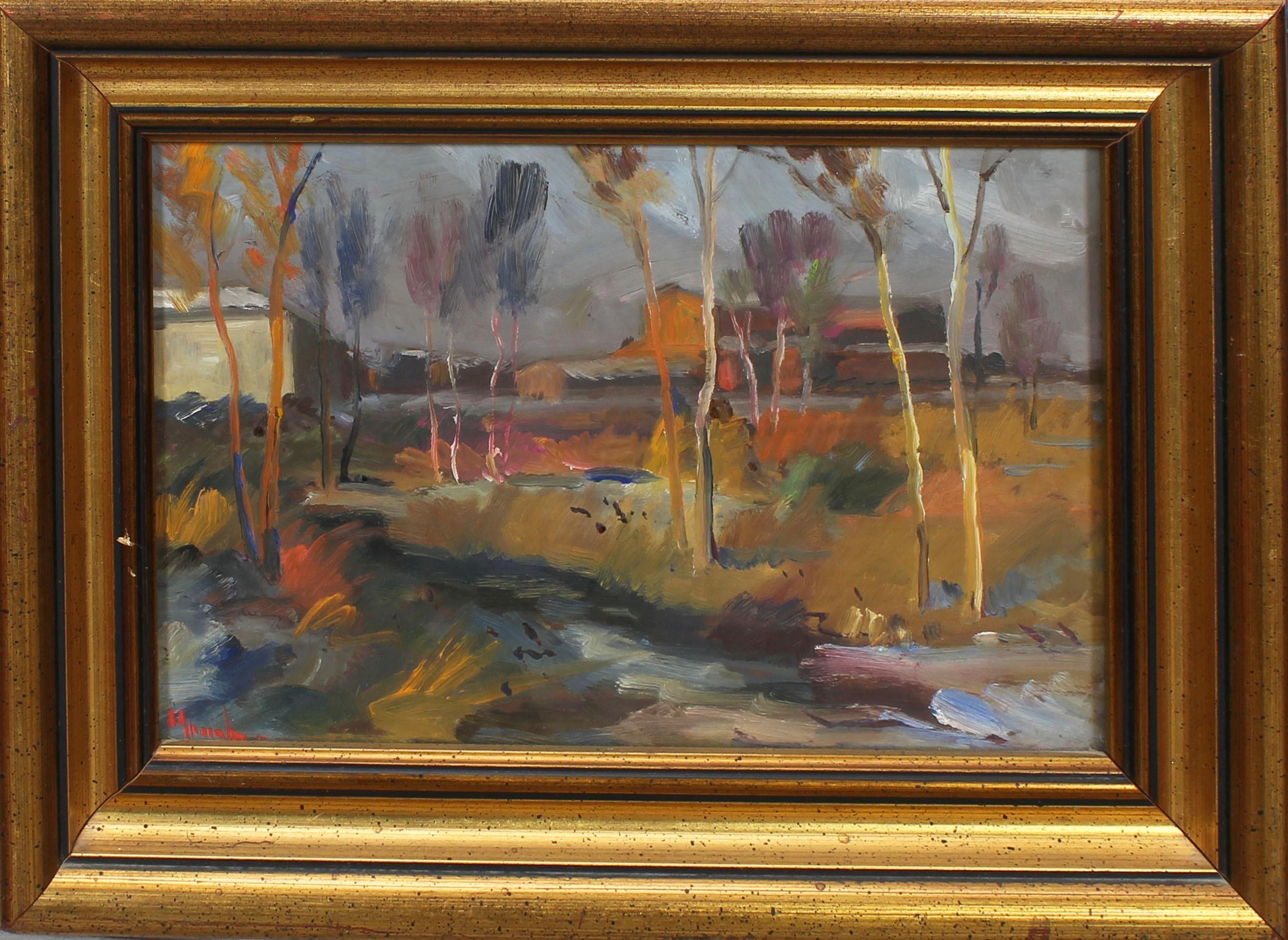 Lot 46 - Paesaggio di campagna, a firma Maccabruni, olio, cm. 27x17