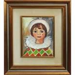 Ragazza in costume, a firma Iori, olio su tela, cm. 23x29