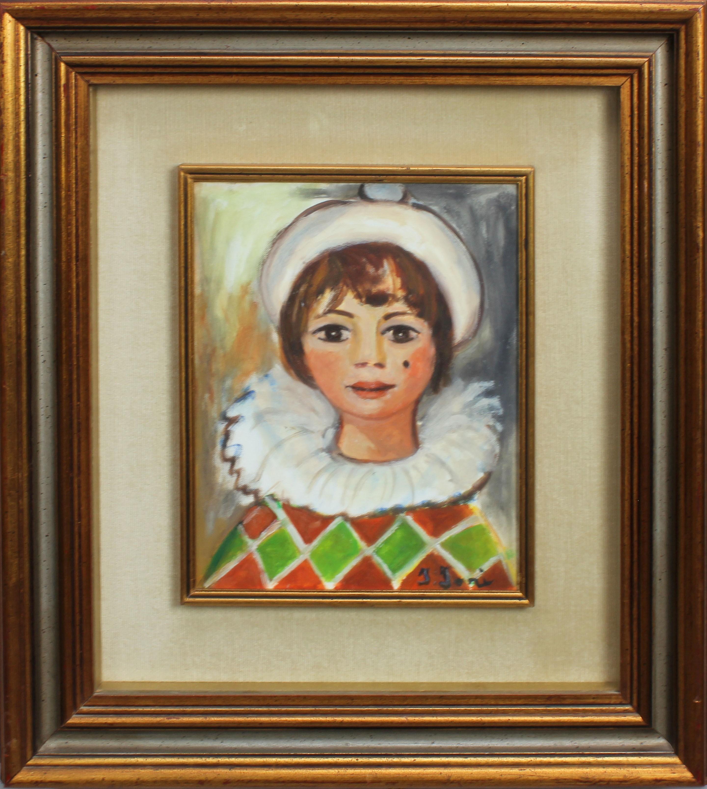 Lot 35 - Ragazza in costume, a firma Iori, olio su tela, cm. 23x29