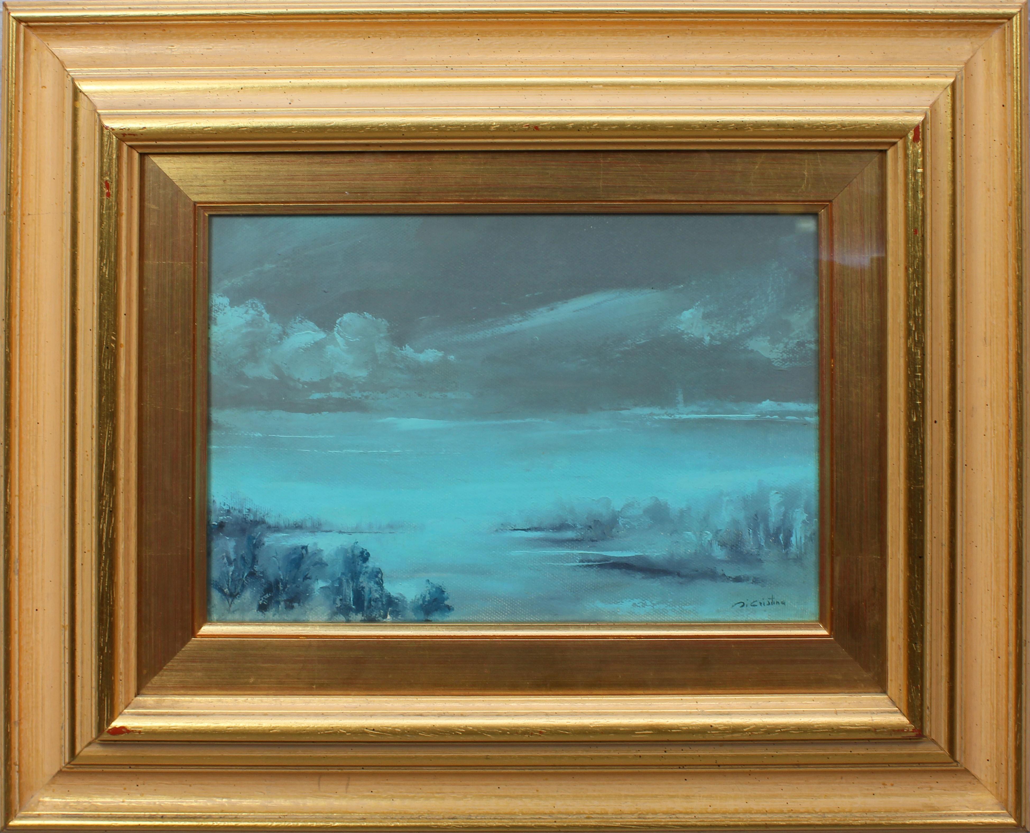 Lot 28 - Paesaggio lacustre a firma Di Cristina, cm. 29x19